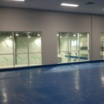 View of the windows overlooking the Toronto Rock practice floor.